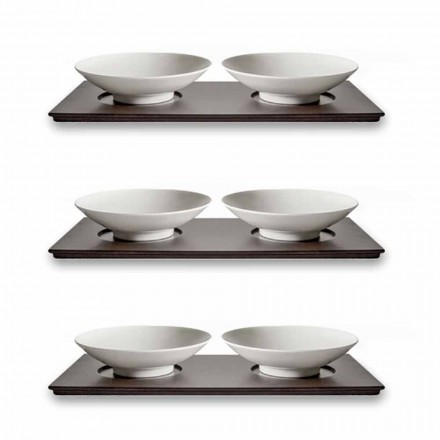 Service med små kopper med træbakken Moderne elegant design 9 stykker - Flavia