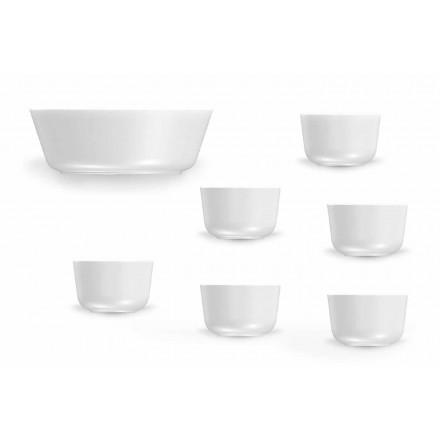 Moderne design hvide porcelænskopper og skål sæt 7 stykker - Arctic