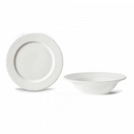 Dessertservice 6 skåle og 6 designskåle i hvidt porcelæn - Samantha