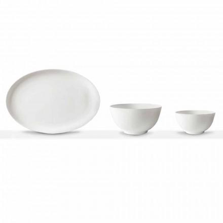 Hvid porcelæns serveringssæt Oval plade og skål 10 stykker - Romilda