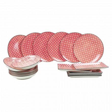 Komplet bordservering rød plader i moderne stentøj 18 stykker - cochineal