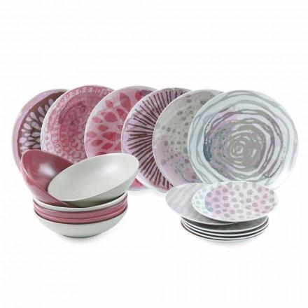 Farvet porcelæn og stentøjsbordsservice 18 stykker - cyclamen