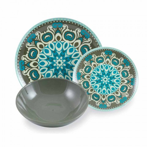 Blåfarvet porcelænsservis sæt 18 stk. - Eivissa