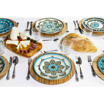 Blåfarvet porcelænsservise sæt 18 stykker - Eivissa