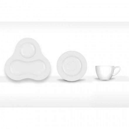 Komplet te sæt moderne design i hvid porcelæn 14 stykker - teleskop