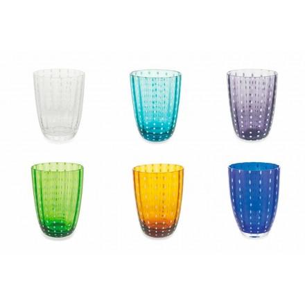 Sæt med 12 moderne farvede glasdesignbriller til vand - Botswana