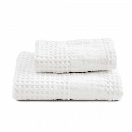 Badeværelse sæt håndklæder i bomulds honningkage og farvet linned - Turis
