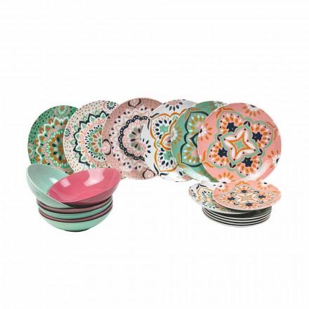 Sæt med farvet servise i porcelæn 18 stykker - Playasol