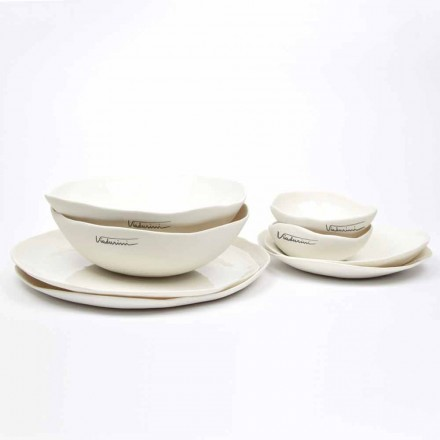 Luksus Design 24-delt hvid porcelænsskål service - Arciregale