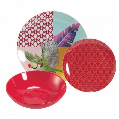 18-delt farvet design porcelæn og Gres service til servise - Tropycale