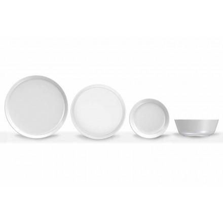 Hvid moderne design porcelænsmiddagsæt 24 stykker - Arctic