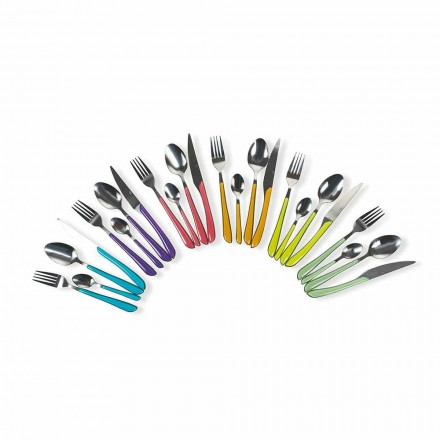 Service af farvet bestik 24 stykker i stål- og plastikdesign - Algeriet