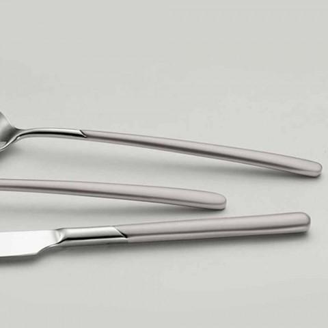 24 stykker bestik sæt i poleret stål med sandblæst håndtag - Jingle