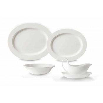 4-delt serveringsplader i hvid designerporcelæn - Samantha