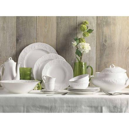 Sæt med 27 elegante hvide porcelæns designplader - Gimignano