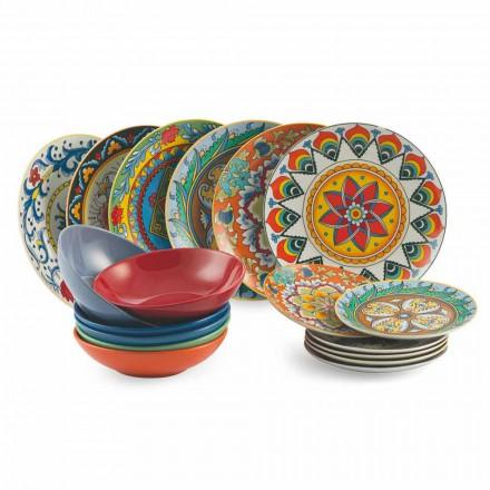 Farvede middagsplader sæt 18 stk porcelæn og stentøj - renæssance
