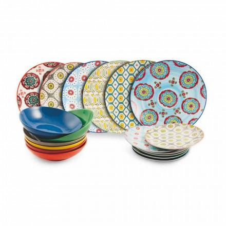 Sæt af moderne etniske farvede plader i porcelæn og stentøj 18 stykker - Istanbul