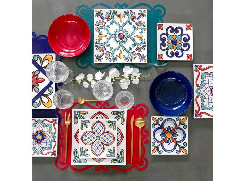 18 stykke moderne Gres og porcelænsfarvede pladeservice - Iglesias