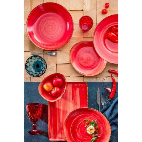 12 stykker forretter tallerkener i farvet stentøj til moderne design - Simba