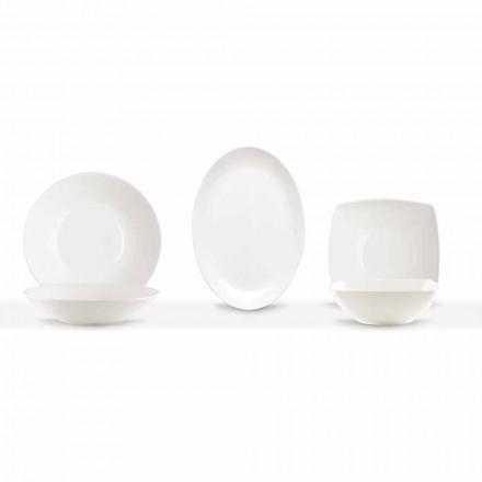 Serveringsret 3 dele moderne design i hvidt porcelæn - Malaga