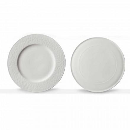 Gourmet-design serveringsretter i hvidt porcelæn 2 stykker - Flavia