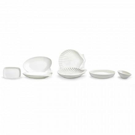 Hvid porcelæns serveringsret sæt 30 stykker - Nalah