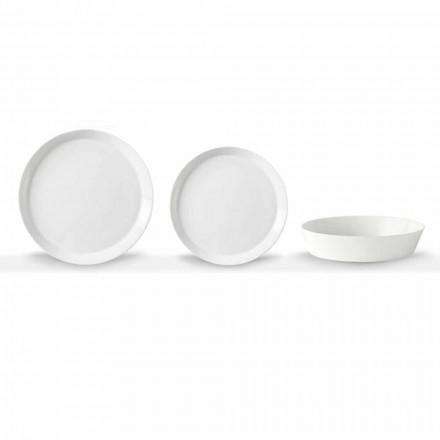 Elegant design hvid porcelæn 18-delt middagssæt - Egle