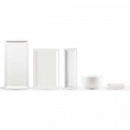 Hvid porcelæns moderne middagsplads sæt 25 stk - basal