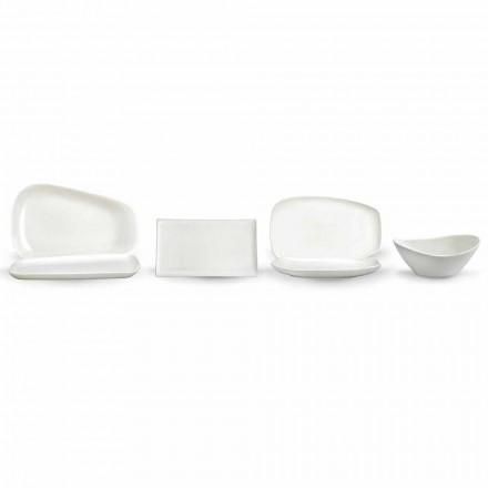 Hvid porcelænsmiddag eller serveringsret - Nalah