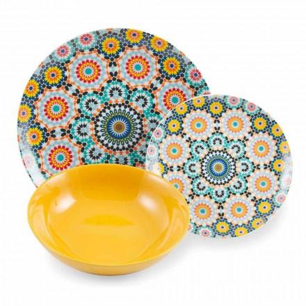 Farvede etniske middagsplader Sæt porcelæn og stentøj 18 Mad - Marokko