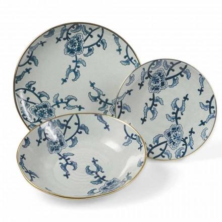 Spisesæt i blå og hvid porcelæns moderne 18 stykker - Kyushu