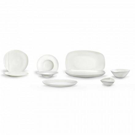 Hvid porcelæns servis sæt 23 stk moderne og elegant design - Nalah