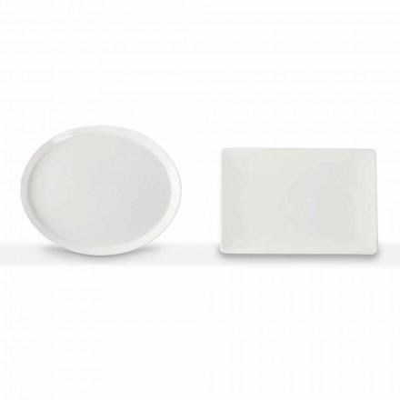 Middagsplader Sæt ovalt og rektangulært design 3 stykker i porcelæn - Egle