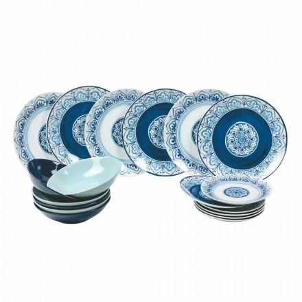Moderne bordservice Porcelæn og stenplader komplette 18 stykker - Ravello