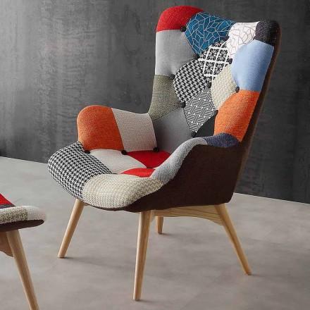Moderne flerfarvede patchwork lænestole Veronica, ben i massivt træ
