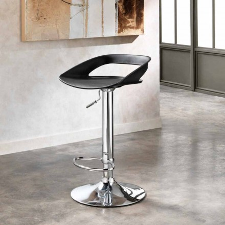 September 2 taburetter i krom metal og pvc Aldo, moderne design