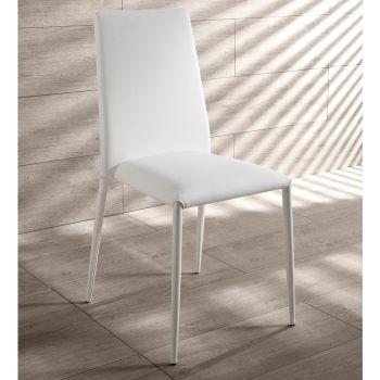 4. september moderne stole i hvid læder, grå eller taupe Dora