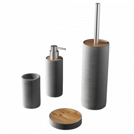 Sæt til badeværelsestilbehør i hvid eller grå - Foxharpiks