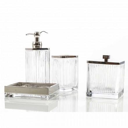 Moderne bordplade badeværelse og tilbehør i Priola glas og metal