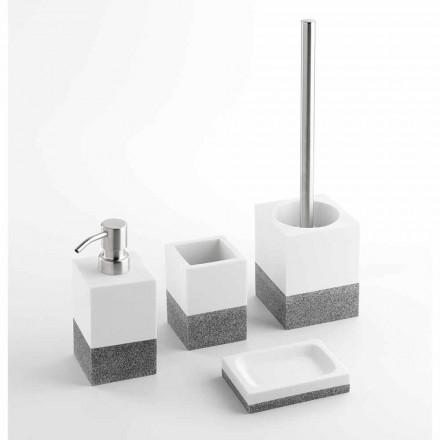 Sæt Designer Badeværelsestilbehør i hvidt og gråt harpiks - Saeda