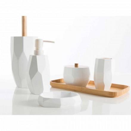 Sæt design badeværelses tilbehør i træ og harpiks Rivalba