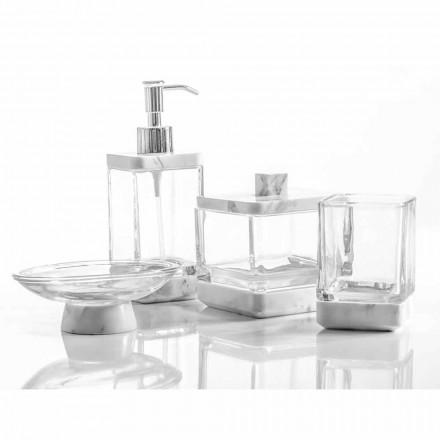 Moderne badeværelse tilbehør i Calacatta marmor og Carona glas