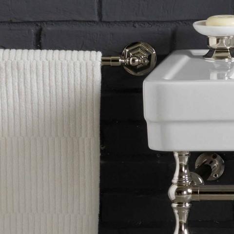Bad sæt med dobbelt konsol i hvid keramik med lineær struktur