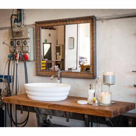 Sæt af suspenderede designmøbler til badeværelse i teak blokbord Poggio