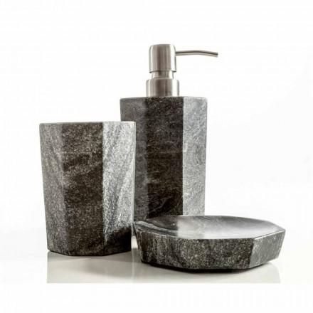 Sæt med moderne badeværelse tilbehør i Montafia veined grå marmor