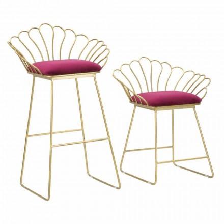 Par farvede moderne designstole i jern og polyester - Malika