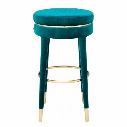 Høj skammel med sæde overtrukket med detaljer i stof og stål - Belluno