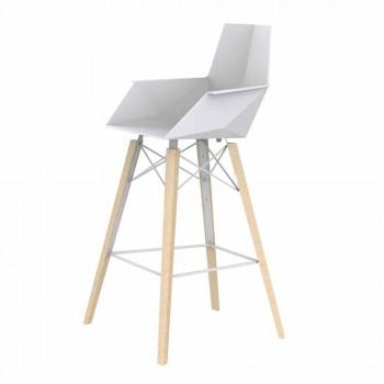 Barstol med armlæn i træ og plastik forskellige farver - Faz Wood af Vondom
