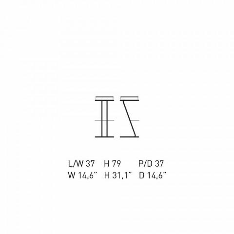 Barstol i forkromet stål med lædersæde fremstillet i Italien - Tarquinio