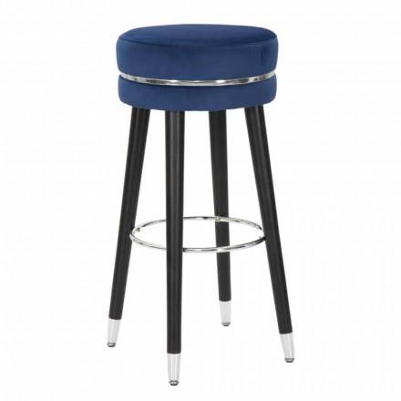Rund barstol i moderne design i stof og træ - Rupert
